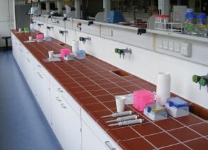 Arbeitsbank in einem molekularbiologischen Labor und Equipment